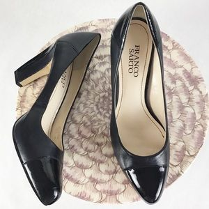 Franco Sarto Magic Black Leather Toe Cap Heels